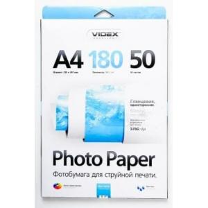 Фотопапір Videx глянцевий А4 180г/п, 50 аркушів