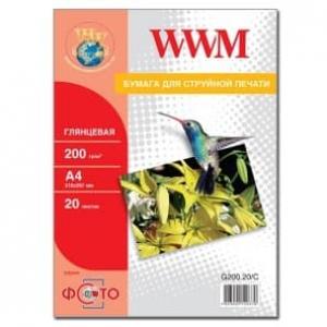 фотобумага wwm, глянцевая 200g, m2, a4, 20л (g200.20) WWM G200.20/C