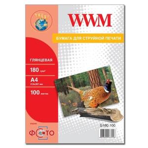 фотобумага wwm, глянцевая 180g, m2, a4, 100л (g180.100) WWM G180.100