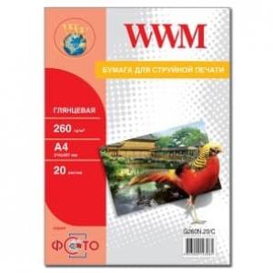 фотобумага wwm, глянцевая 260g, m2, a4, 20л new (g260n.20, c) WWM G260N.20/C