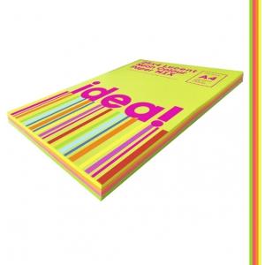 Набор цветной бумаги Neon Colour mix LUCENT 25х4, А4 80 г/м 100л idea (22230)