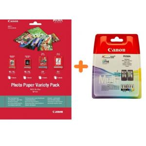 Картриджи Canon PG-510, CL-511 + Фотобумага Canon VP101, 10 x15, A4, 20л (2970B010-VP101)