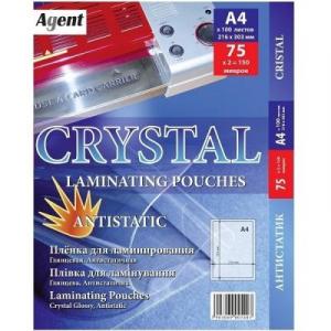 Плівка для ламінування глянцева А4, 75 мкм, 100 шт Cristal Antistatic (3140007)