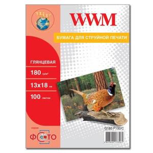 фотобумага wwm, глянцевая 180g, m2, 130х180 мм, 100л (g180.p100, c) без политурки WWM G180.P100b