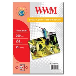 фотобумага wwm, глянцевая 200 g, a3, 20л (g200.a3.20/c) WWM G200.A3.20/C