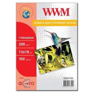 фотобумага wwm, глянцевая 200g, m2, 130х180 мм, 100л (g200.p100) без политурки WWM G200.P100b