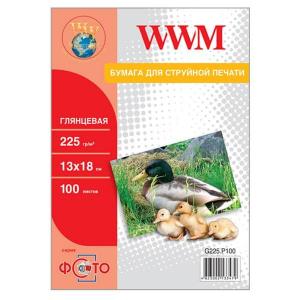 фотобумага wwm, глянцевая 225g, m2, 130х180 мм, 100л (g225.p100) без политурки WWM G225.P100b
