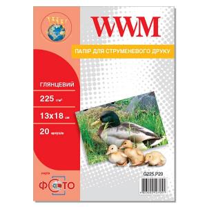фотобумага wwm, глянцевая 225g, m2, 130х180 мм, 20л (g225.p20) без политурки WWM G225.P20b