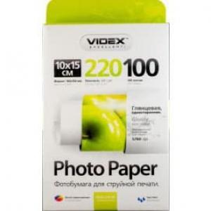 Фотобумага Videx глянцевая 10х15 220г/п, 100л