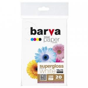 Суперглянцевая фотобумага 10x15, 200г/м2, 20 л, BARVA Profi (IP-R200-161)