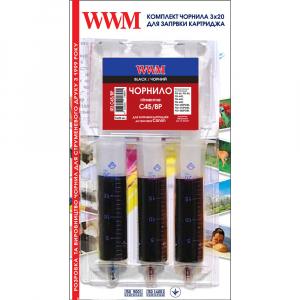 Заправний набір для картриджа Canon PG-445 (3шт x 20мл) Пігментні Black WWM (IR3.C45/BP)