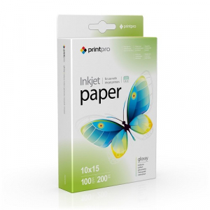 Фотопапір PrintPro глянець 200 г/м, 10x15, 100л PG200-100