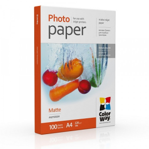 Фотопапір Colorway матовий 220г/м, A4, 100л (PM220100A4)