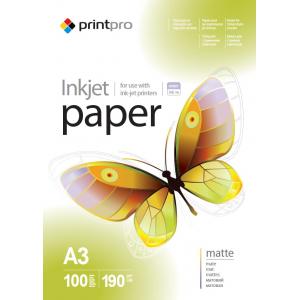 Фотопапір PrintPro матовий 190г/м, A3, 100 аркушів, PME190100
