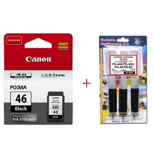 Картридж струйный Canon PG-46 Black (9059B001) + заправочный набор WWM