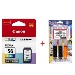 Картридж струйный Canon CL-56 Color (9064B001) + Заправочный набор WWM