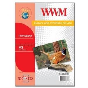 фотобумага wwm, глянцевая 180g, m2, a3, 20л (g180.a3.20) WWM G180.A3.20