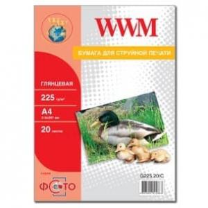 фотобумага wwm, глянцевая 225g, m2, a4, 20л (g225.20) WWM G225.20/C
