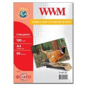 фотобумага wwm, глянцевая 180g, m2, a4, 50л (g180.50) WWM G180.50