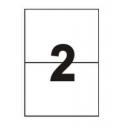 Самоклеющаяся бумага А4 разделенная на 2 этикетки, 210х148мм, 100шт