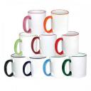 Чашки для сублимации с цветным ободком и ручкой Premium, 36шт