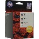 Комплект струйных картриджей HP 46 Black 2шт, Color (F6T40AE)