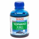Чорнила WWM H34 для картриджів HP, 200г Cyan водорозчинні (H34/C)