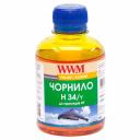Чорнила WWM H34 для картриджів HP, 200г Yellow водорозчинні (H34/Y)