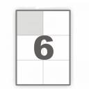 Самоклеющаяся бумага А4 разделенная на 6 этикетки,  105х99мм, 100 листов